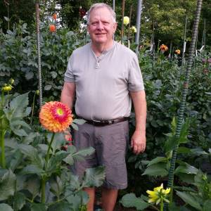 Don in the dahlia garden