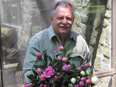 Don with peonies
